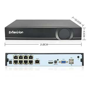 Evtevision 16 Canal 5MP Network Video Recorder with 8 PoE Ports